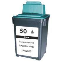 Lexmark 17G0050 (#50) / 17G0055 (#55) Black ink remanufactured inkjet cartridge