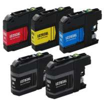 Multipack Brother LC203 High Capacity - 5 compatible inkjet cartridges - 2 Black and 1 each Cyan, Magenta, Yellow