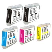 Multipack Brother LC51 - 5 compatible inkjet cartridges - 2 Black and 1 each Cyan, Magenta, Yellow