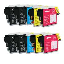 Multipack Brother LC61 - 10 compatible inkjet cartridges - 4 Black and 2 each Cyan, Magenta, Yellow