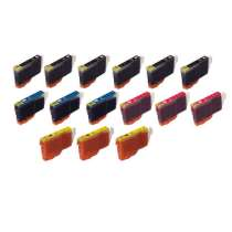 Multipack Canon BCI-6 - 15 compatible inkjet cartridges - 6 Black and 3 each Cyan, Magenta, Yellow