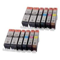 Multipack Canon PGI-220 / CLI-221BK / CLI-221C / CLI-221M / CLI-221Y - 12 compatible inkjet cartridges - 4 Pigmented Black PGI-220 and 2 each CLI-221 Black, Cyan, Magenta, Yellow