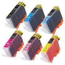 Multipack Canon CLI-8BK / CLI-8C / CLI-8M / CLI-8Y / CLI-8PC / CLI-8PM - 6 compatible inkjet cartridges - 1 each CLI-8 Black, Cyan, Magenta, Yellow, Photo Cyan, Photo Magenta