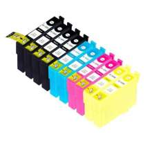 Multipack Epson 125 - 10 remanufactured inkjet cartridges - 4 Black and 2 each Cyan, Magenta, Yellow