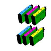 Multipack Epson 252XL - 6 remanufactured inkjet cartridges - 2 each Cyan, Magenta, Yellow