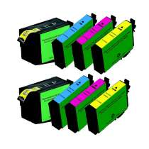 Multipack Epson 252XL - 8 remanufactured inkjet cartridges - 2 each Black, Cyan, Magenta, Yellow