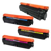 HP 650A - CE270A / CE271A / CE273A / CE272A remanufactured/compatible toner cartridges - 4-pack