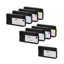 Multipack HP 711 - 9 remanufactured inkjet cartridges - 3 Black and 2 each Cyan, Magenta, Yellow