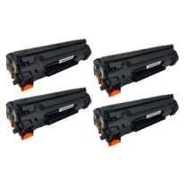 HP 78A Black - CE278A / Canon 128 remanufactured/compatible toner cartridges - 4-pack
