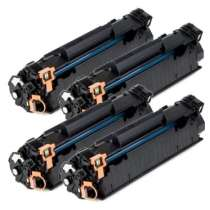 HP 85A Black - CE285A remanufactured/compatible toner cartridges - 4-pack