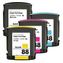 Multipack HP 88XL - 4 remanufactured inkjet cartridges - 1 each Black, Cyan, Magenta, Yellow