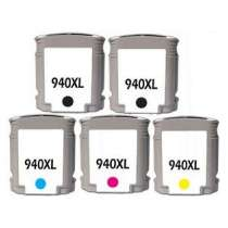 Multipack HP 940XL - 5 remanufactured inkjet cartridges - 2 Black and 1 each Cyan, Magenta, Yellow