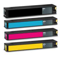 Multipack HP 981A - 4 remanufactured inkjet cartridges - 1 each Black, Cyan, Magenta, Yellow