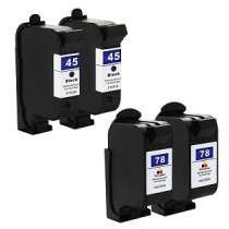 Multipack HP 45 / 78 - 4 remanufactured inkjet cartridges - 2 Black and 2 Color