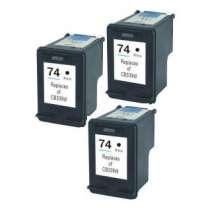 Multipack HP 74 - 3 remanufactured inkjet cartridges - 3 Black