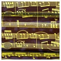 Pre-printed Chocolate Transfer Sheets - Golden Musical Notes